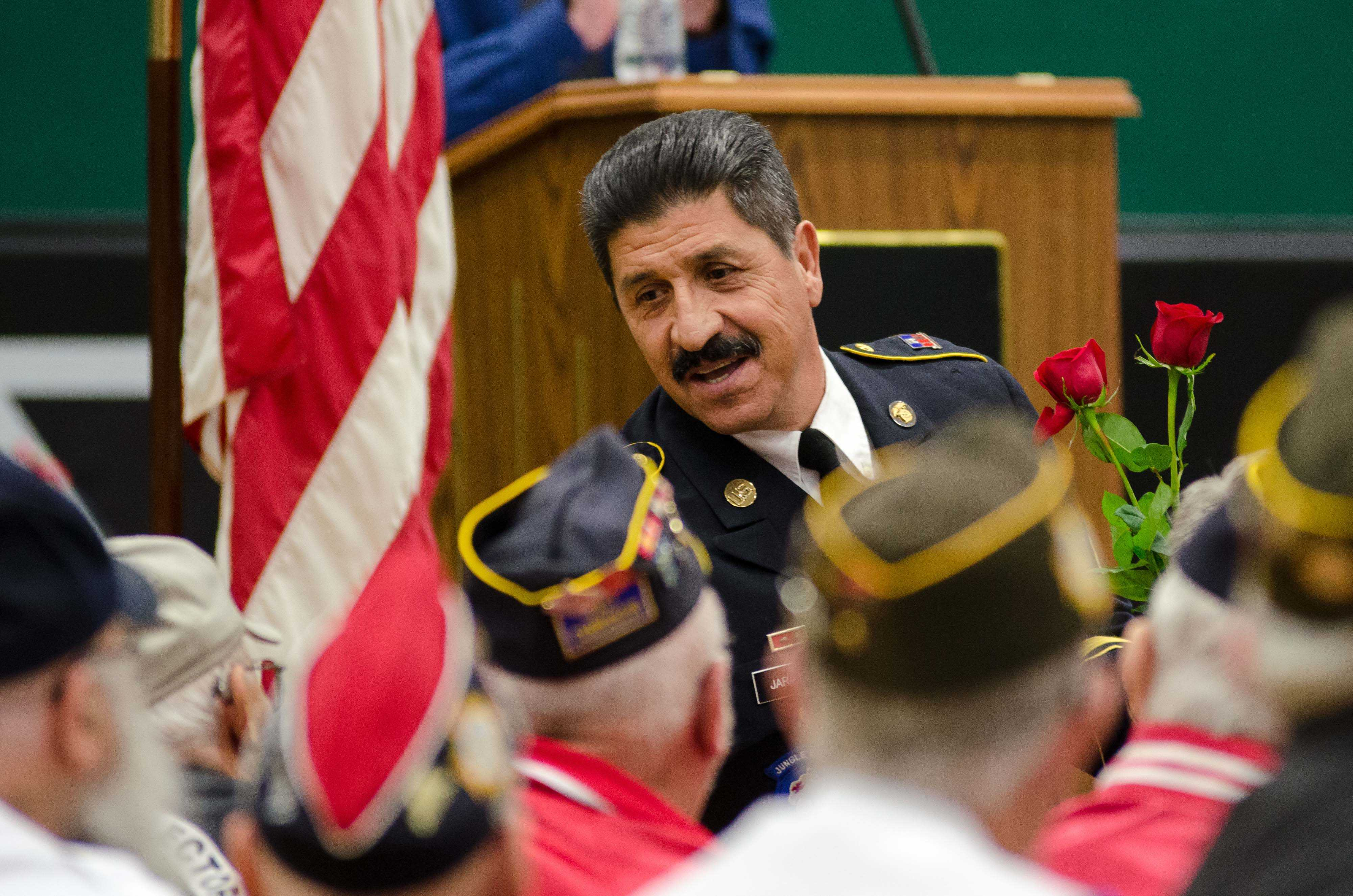 Gus Jaramillo shakes hands with some of the veterans in the audience of the annual Veterans Day Assembly. There were around 75 veterans in attendance.