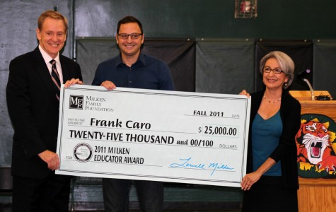 THS social studies teacher Frank Caro was awarded a Milken Family Foundation National Educator Award at an assembly early Monday morning.