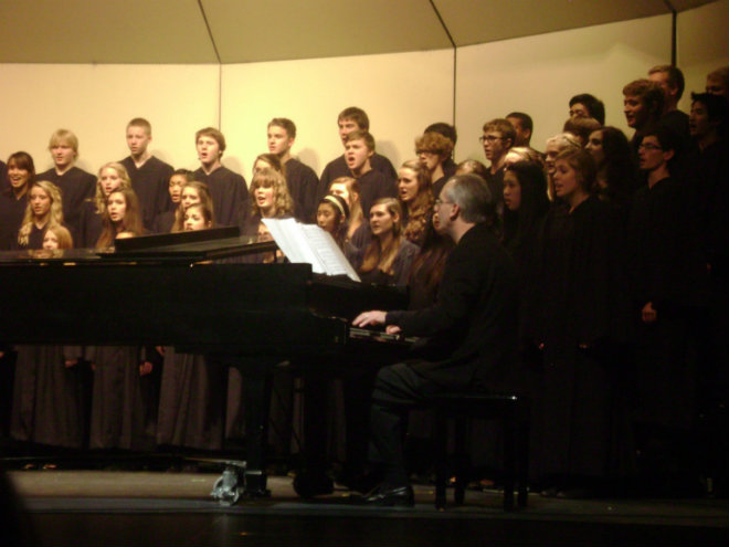 Concert Choir singing for the last part of the Halloween Variety Show.