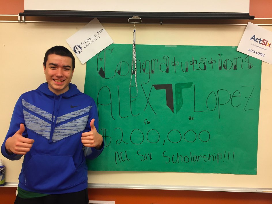 Alex Lopez received the Avid 12 Act Six scholarship from George Fox University.
