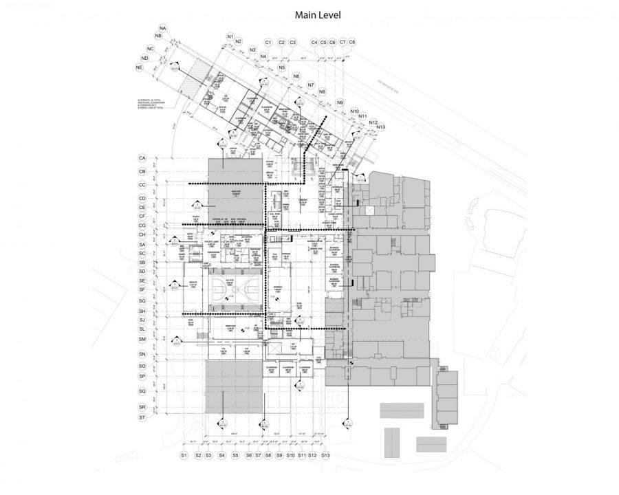 Current draft of the main floor's schematic design.