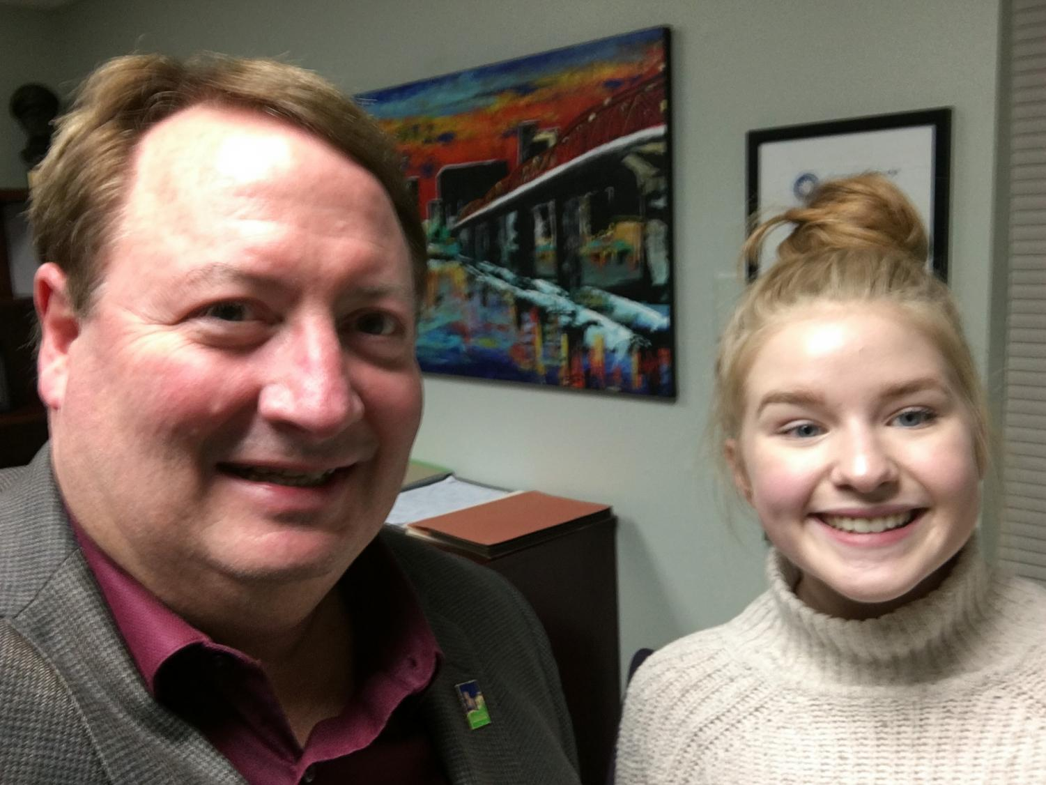 Olivia Young takes a selfie with Mayor Cook during her interview for this article. Young enjoyed the opportunity to get some advice from the mayor.