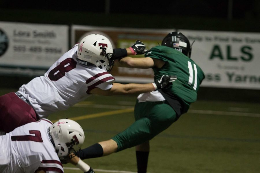 Right before the lights went out, Jakob Harrold dives into the end zone.
