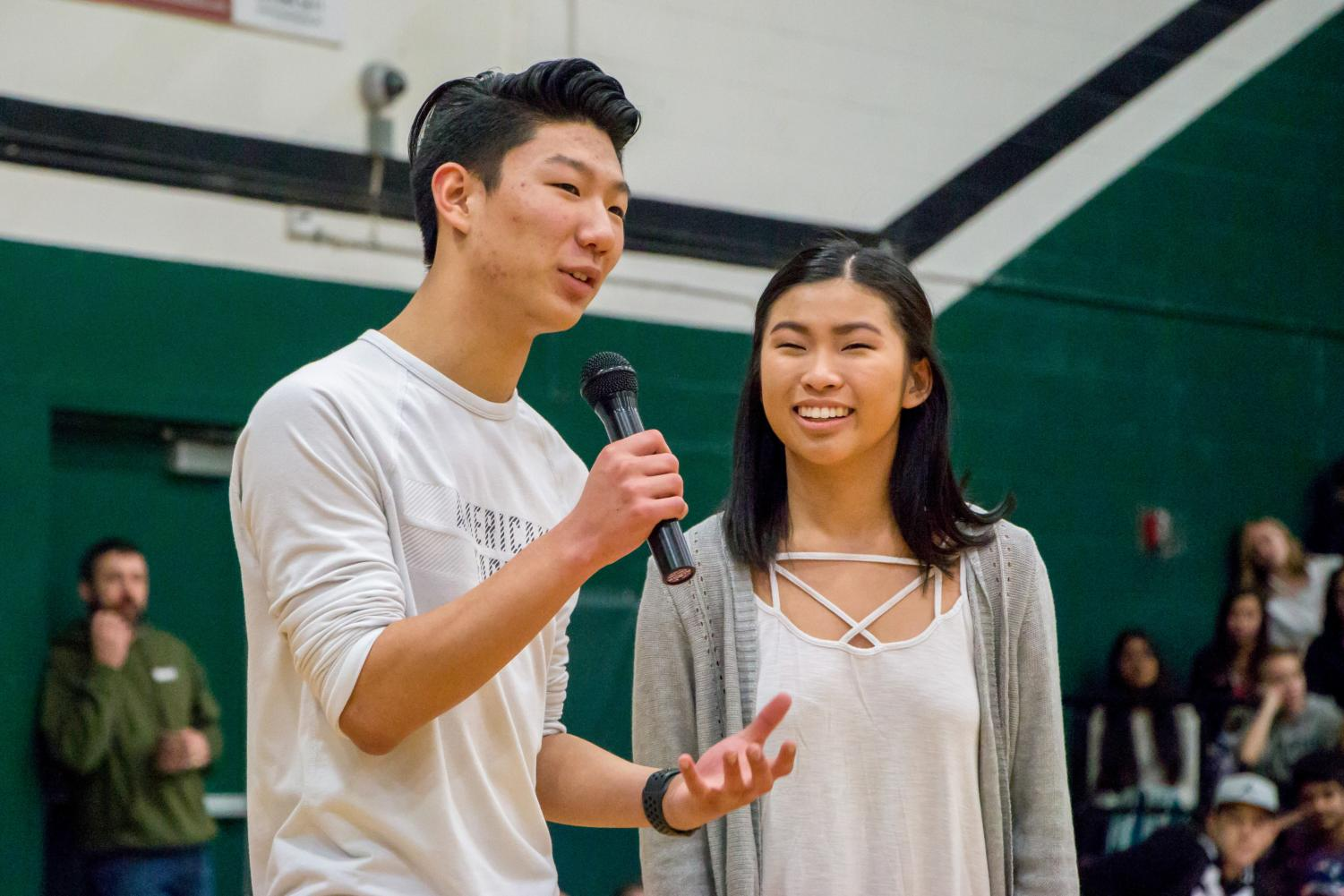 Trevor Rabosky and Abby Lam talk to students about the meaning of Sparrow Club and explain how to help Jakob.