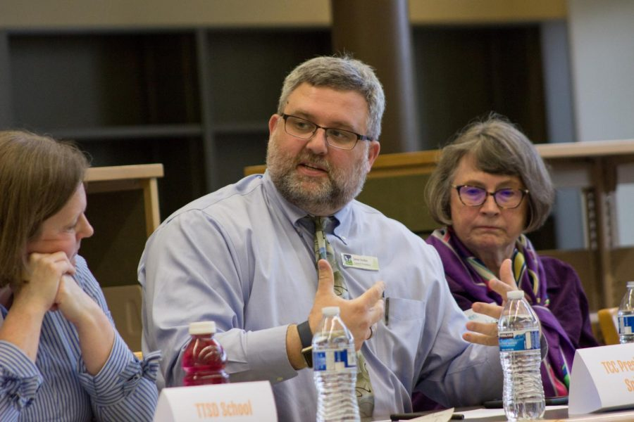 From left to right: Karen Emerson, Jason Snider and Ginny Burdick discuss school safety at a listening session April 10.