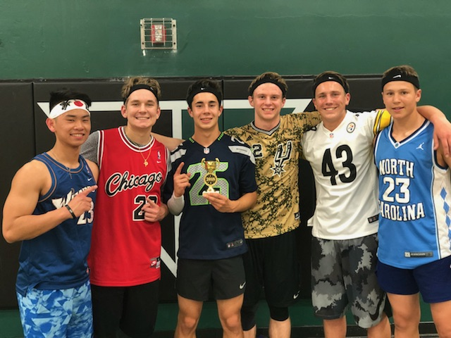 Dodgeball+champs+celebrate+their+win.