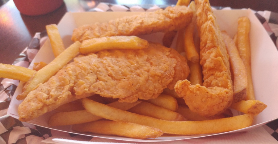 Baileys serves hot, tender chicken strips with fries.