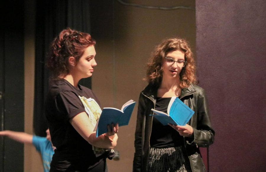 Junior Jamie Schroeder (right)  and Senior Kenzie Strong (left) run through their scene from