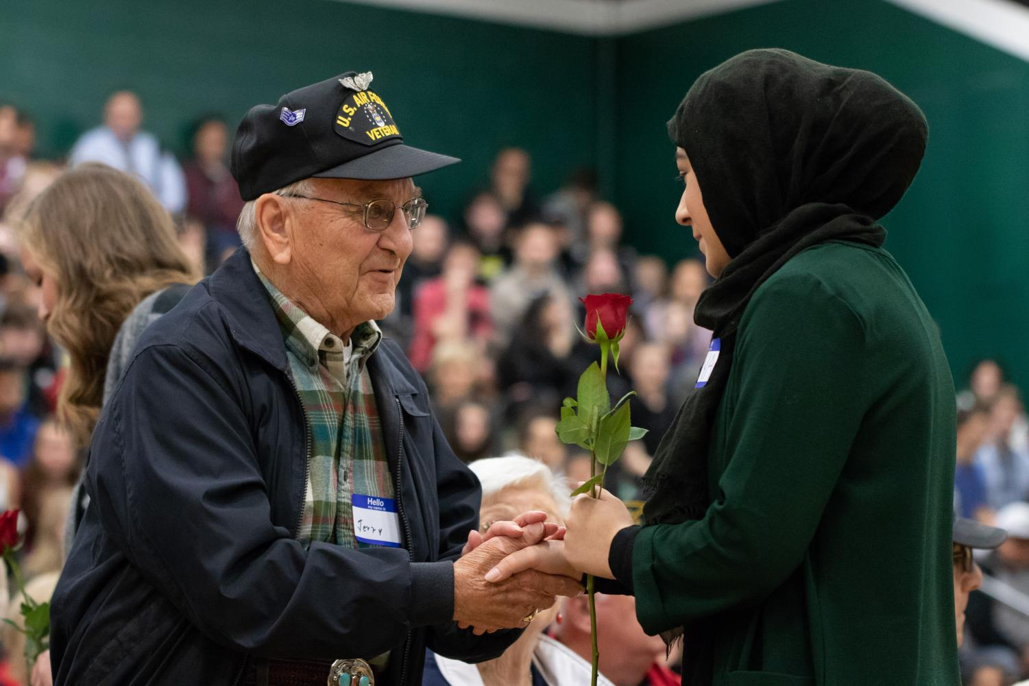 At the Veterans Day Assembly each veteran in attendance receives a rose.