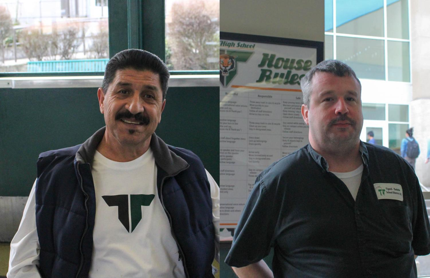 Gus Jaramillo and Josh Miller keep things clean around the school. But they have also served the school by connecting with students.