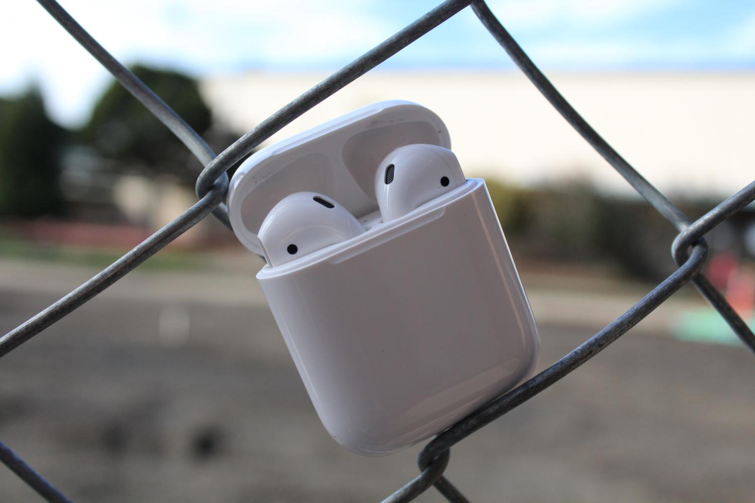 Airpods hanging out on the construction fencing? Sure, why not.