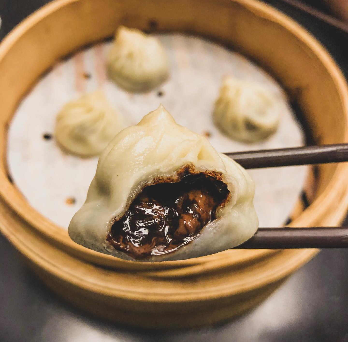 Din Tai Fung in Portland serves one of the restaurant's best known dessert items: the chocolate mochi xiaolongbao.