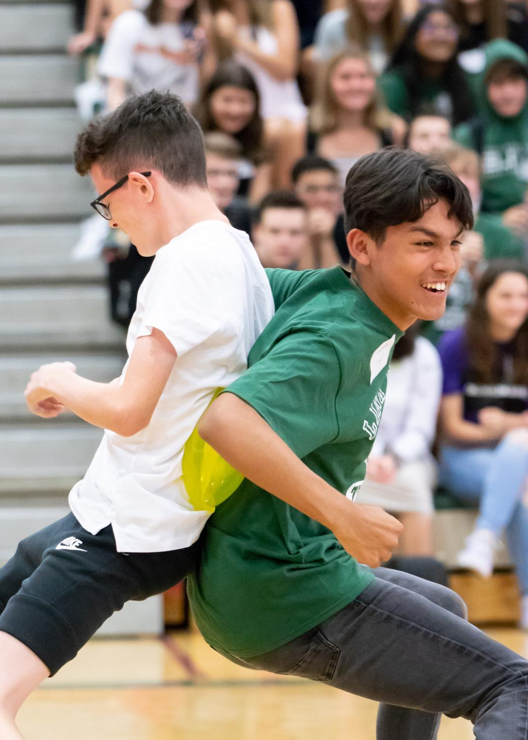 During Freshman Orientation, freshman Isaac Lafohn and junior Anthony Salazar tried to pop balloons back-to-back. It wasn't as easy as it looked.