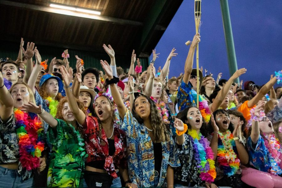 Students+show+their+spirit+at+the+game+against+Canby+on+Sept+21.+The+new+spirit+app+has+increased+participation+at+games.