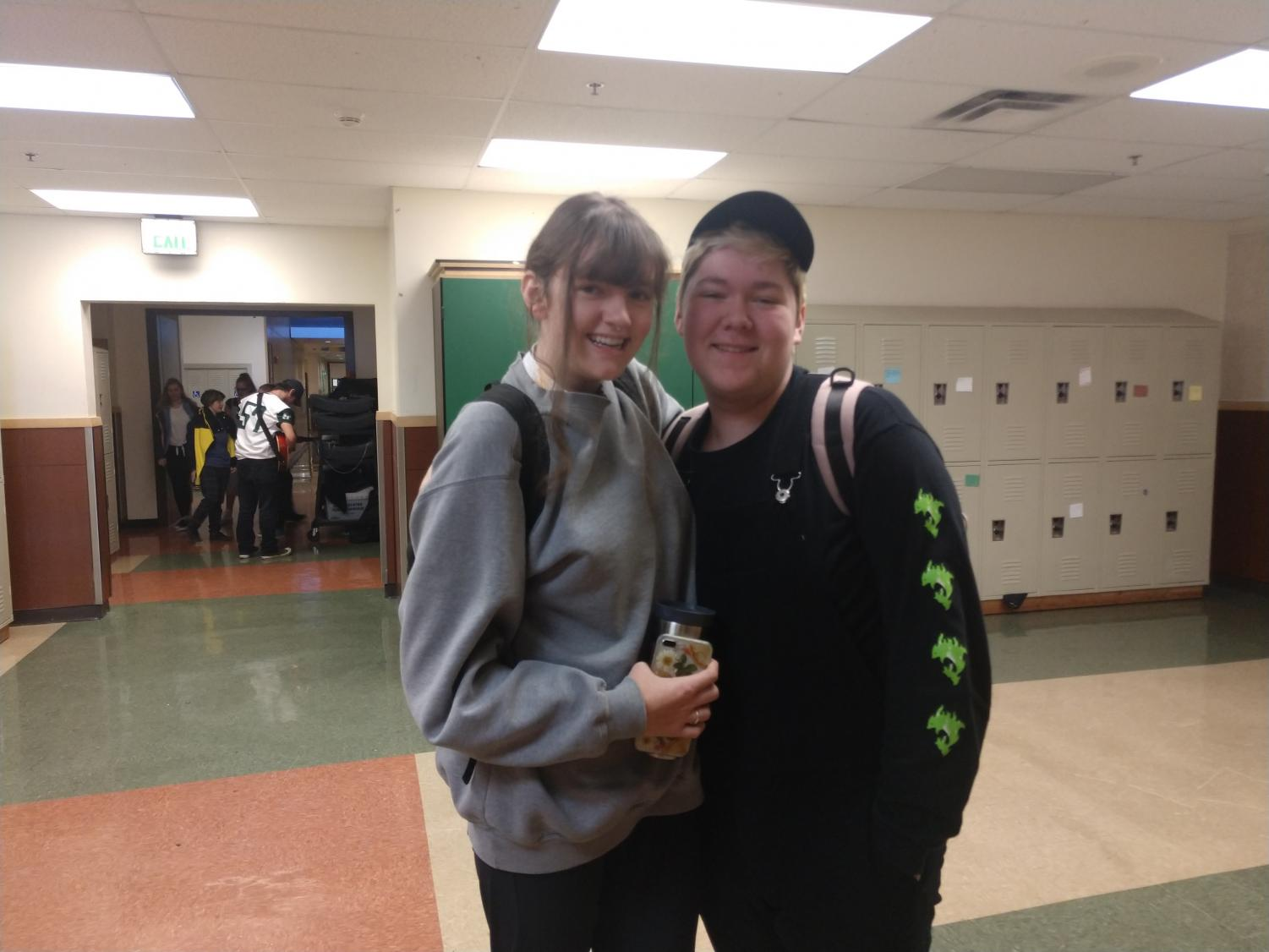 Jessica Woolfolk (12) is president of Climate Club and Dryden Raschdorf (11) is one of the club's officers. Climate Club hopes to instill a recycling and composting program within the school this year.