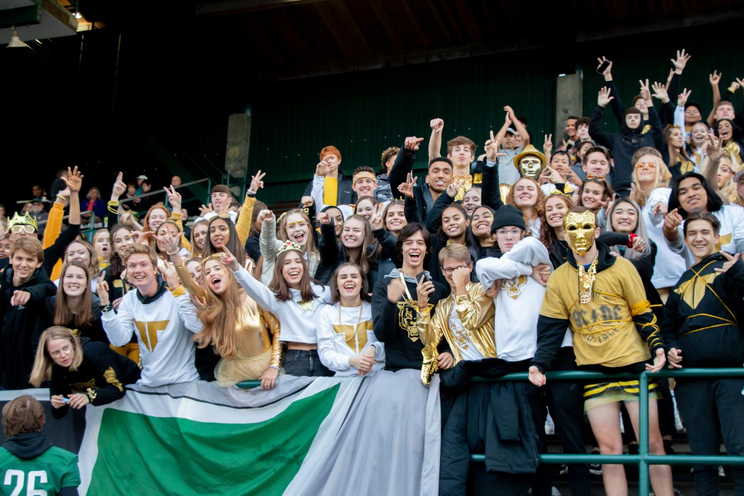 During Friday's game against Lake Oswego, the student section shows some spirit. The cheer, Truckin, was banned mid-game when cheerleaders and administration deemed it too dangerous.