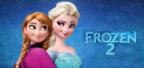 Advertising poster for Frozen 2. Features main characters Anna, played by Kristen Bell, and Elsa, played by Idina Menzel.
