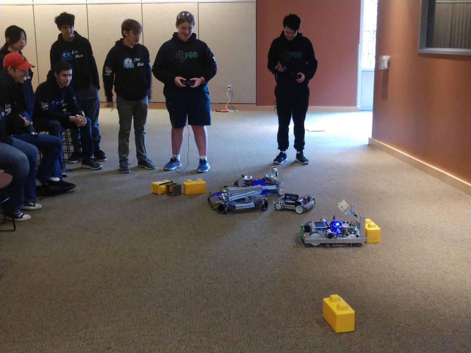 Members from all four FTC teams piloted their robots at the Tigard Library on Sunday. Visitors had the opportunity to pilot the robots for themselves and learn more about Tigard's robotics team.