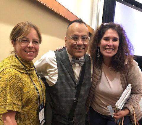 Multicultural Coordinator Giselle Escobar, (right) met with Dr. Jose Medina, (center) a speaker at La Cosecha.  The conference, held in Albuquerque in November, was a national gathering about two-way immersion programs.