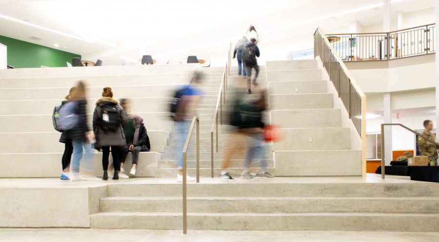 Students finish lunch on the learning stairs and head to their final class of the day.