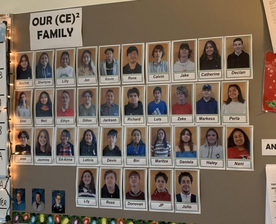 Pictures of students currently participating in the CE2 program is displayed on the wall in their classroom. A new CE2 space was included in the new North Wing of the building.