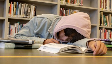 Student taking a nap in between their study sessions. Many students feel the need to catch up on sleep during the day due to late nights of studying.