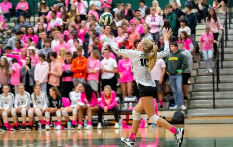 Sophomore volleyball player Kaitlynn Peterson serves the ball during the Dig Pink game against Lakeridge. The team only won one set, but they raised $859 for breast cancer.