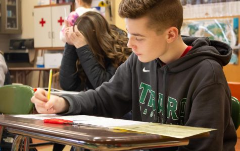 "In Jarman's freshman biology class, they are working on their Sesame street families. Mason Fleming is one of the many students in his class. ""I really enjoy the curriculum. He (Jarman) always makes the class fun and worth paying attention to,"" Fleming said."