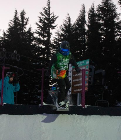 "Sophomore Summer Schroder starts her run-through for the Banked Slalom competition on Feb. 5. ""There"