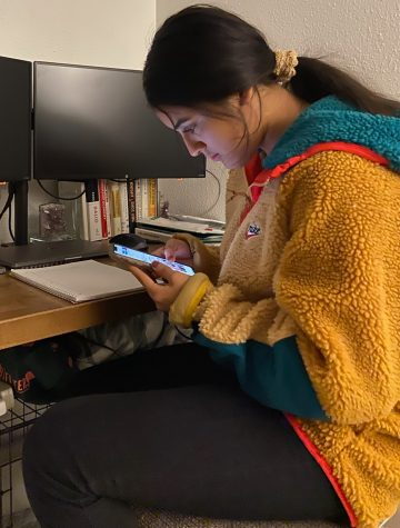 Annette Hernandez is a full IB student who knows she must limit her time on her phone because it can distract her from her studies.